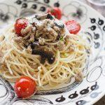 玄米レシピ「トマトとひき肉のオイルパスタ」