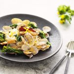 玄米レシピ「菜の花のボンゴレ」